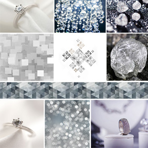 A grid of raw and refined diamond gemstones