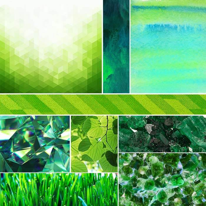 A moodboard that shows raw emerald with other green objects