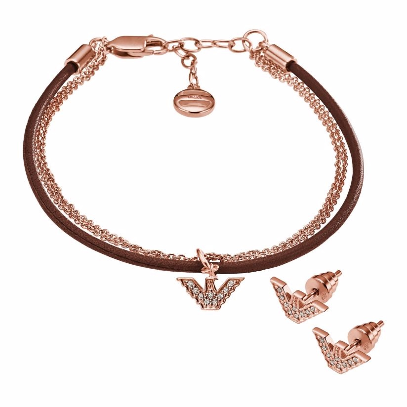 Emporio Armani rose gold tone bracelet and earring set