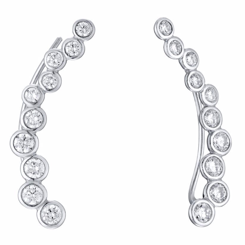 Sterling Silver Cubic Zirconia Circle Ear Climber Earrings