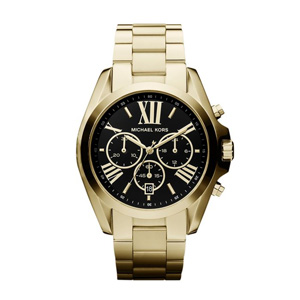 Micheal Kors ladies watch with black face and gold bracelet