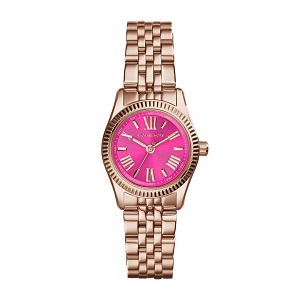 Micheal Kors rose gold plated watch with bright pink face