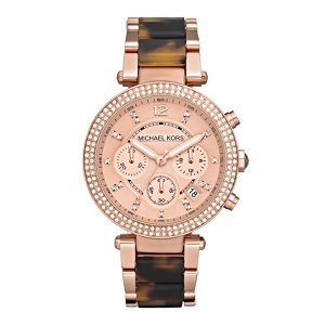 Micheal Kors rose gold plated watch with tortoiseshell bracelet