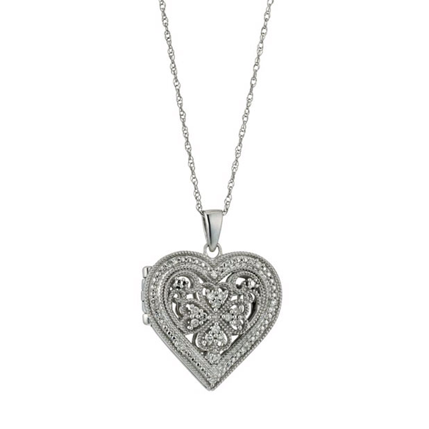 Sterling Silver Vintage Diamond Heart Locket