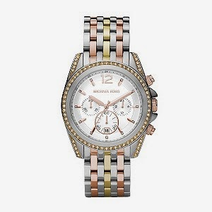 Ladies stainless steel watch with rose and yellow gold accents