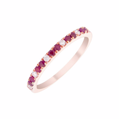 9ct Rose Gold Ruby and Diamond Ring