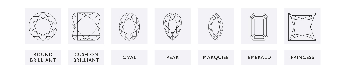 An image of the Ernest Jones diamond cuts in all of their shapes