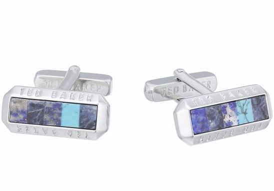Ted Baker Stainless Steel Blue Cufflinks