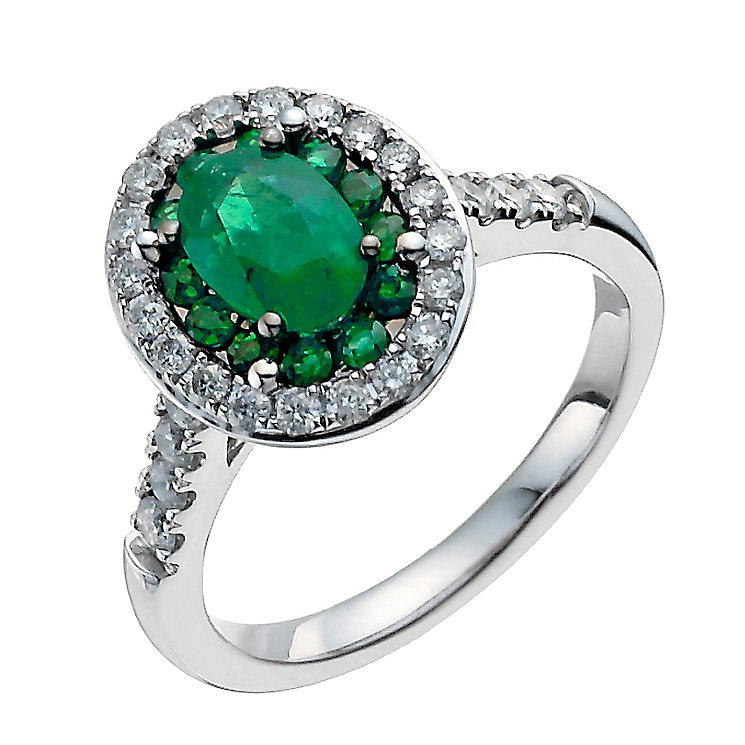 18ct white gold oval emerald & half carat diamond ring