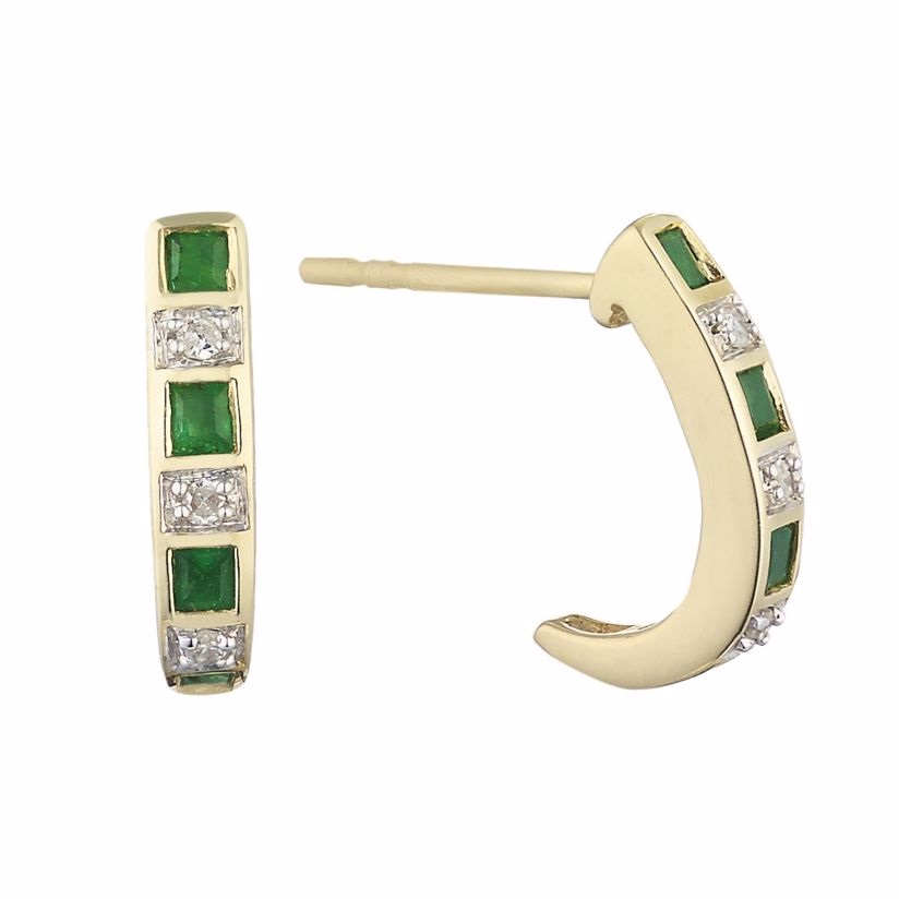 9ct yellow gold emerald and diamond hoop earrings