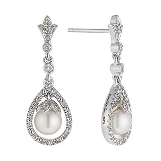 Neil Lane Designs silver 0.20ct diamond and pearl earrings