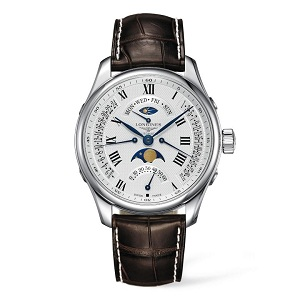 Longines men's flight watch with white face roman numerals and brown strap