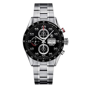 Tag Heuer men's watch with steel bracelet and black face