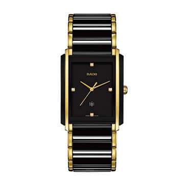 Rado Men's Black Ceramic & Gold Plate Bracelet Watch