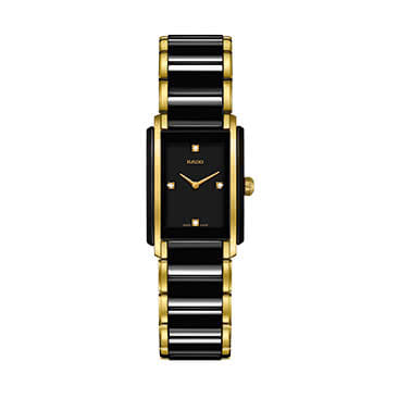 Rado Ladies' Gold Plate & Black Ceramic Bracelet Watch