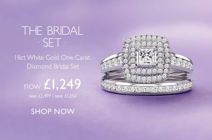 Bridal Sets 18ct White Gold One Carat Diamond Bridal Set - Shop now