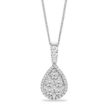 18ct White Gold 1ct Diamond Pear Cluster Pendant
