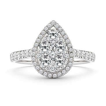 18ct White Gold 1ct Pear Cluster Diamond Ring