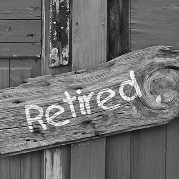 Wooden retired sign