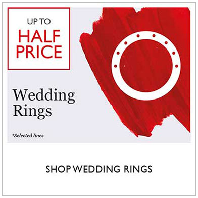 Up to half price wedding rings sale - shop sale