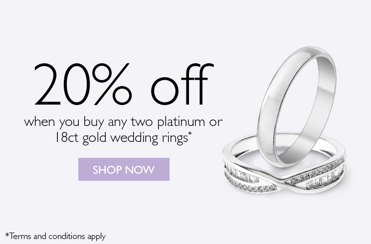20% off 2 platinum or 18ct gold wedding rings