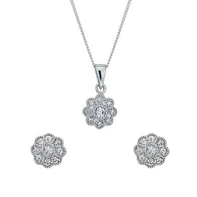 Silver Cubic Zirconia Vintage Flower Earrings & Pendant Set