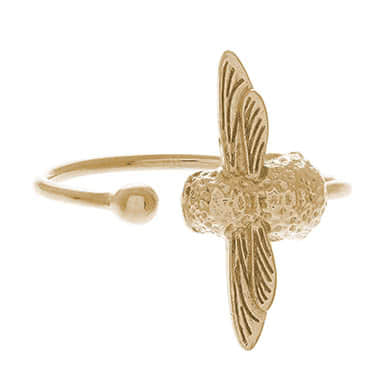 Olivia Burton 3D Bee Ladies' Yellow Gold Plated Ring