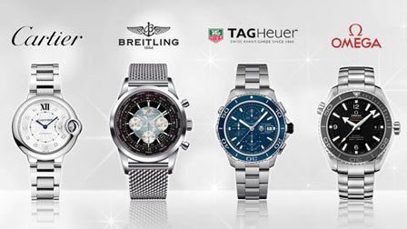 Luxury watches from prestige brands such as Cartier, Breitling, TAG Heuer & Omega