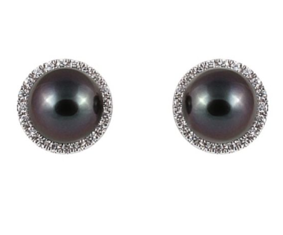 Yoko London 18ct white gold Tahitian pearl diamond earrings