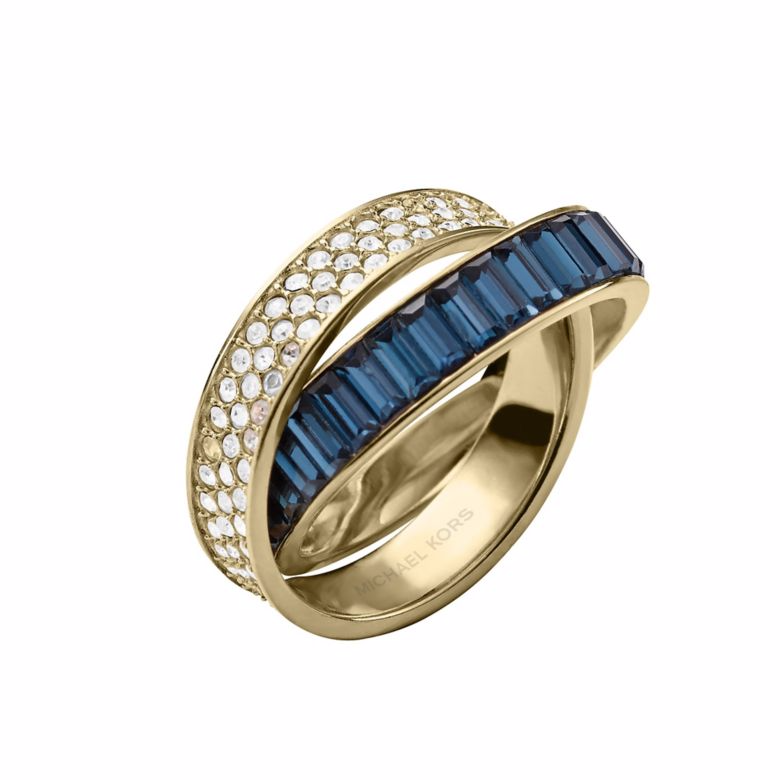 Michael Kors gold-plated stone set blue crossover ring