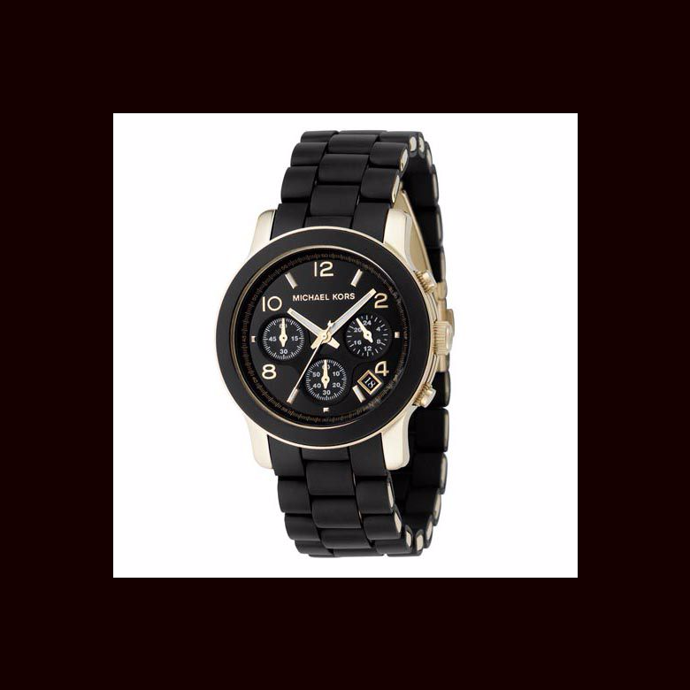 Michael Kors ladies' gold-plated & black chronograph watch