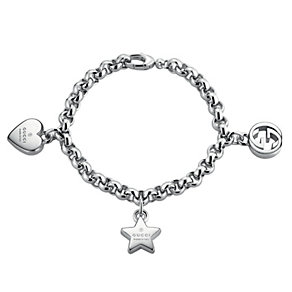 Sterling Silver Gucci Trademark Charm Bracelet