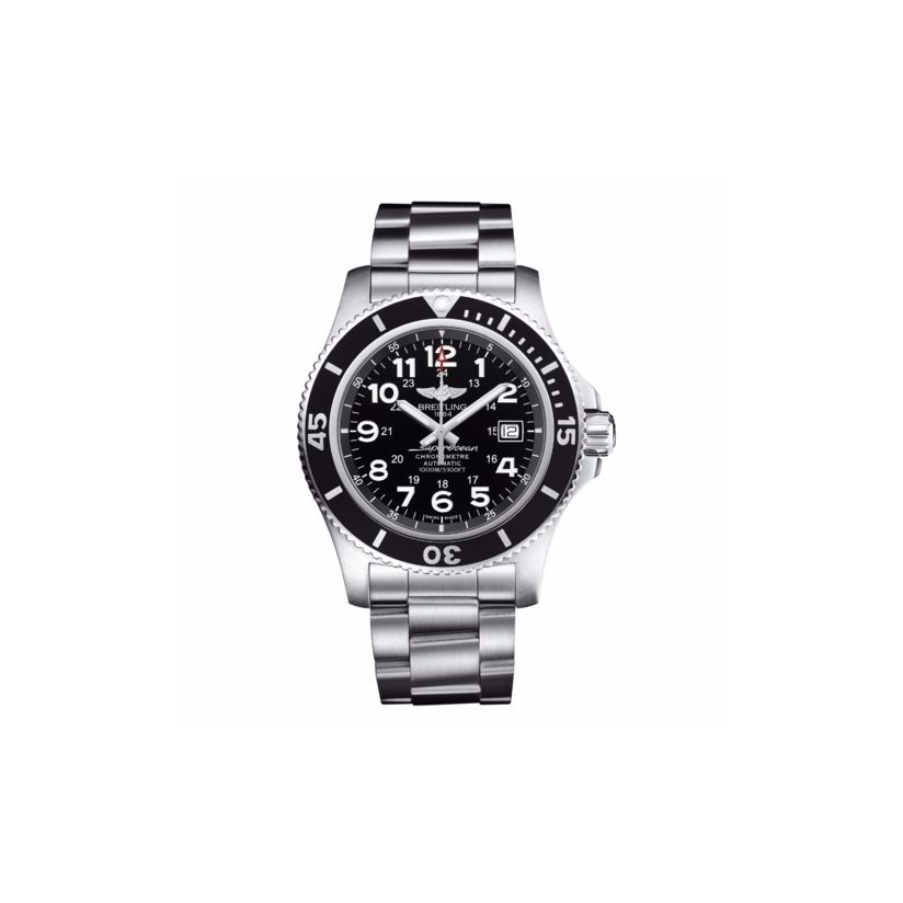 Breitling men's stainless steel black dial bracelet watch