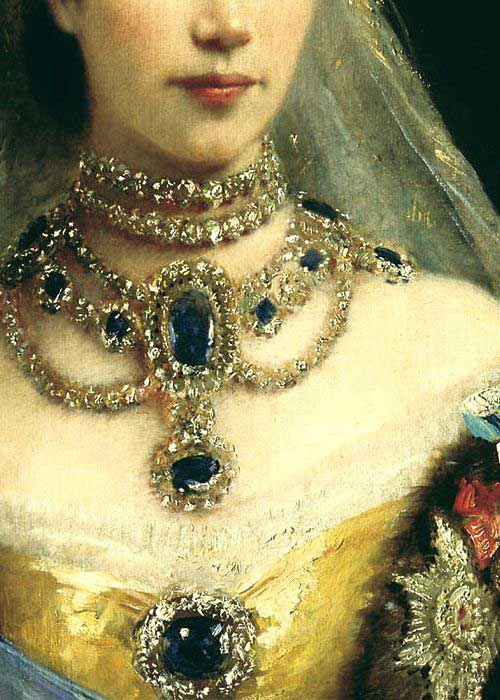 painting detail featuring jewellery