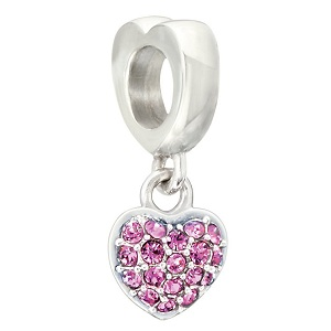 Heart shaped silver charm with pink crystals