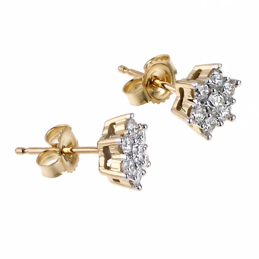 18ct gold half carat diamond daisy cluster stud earrings