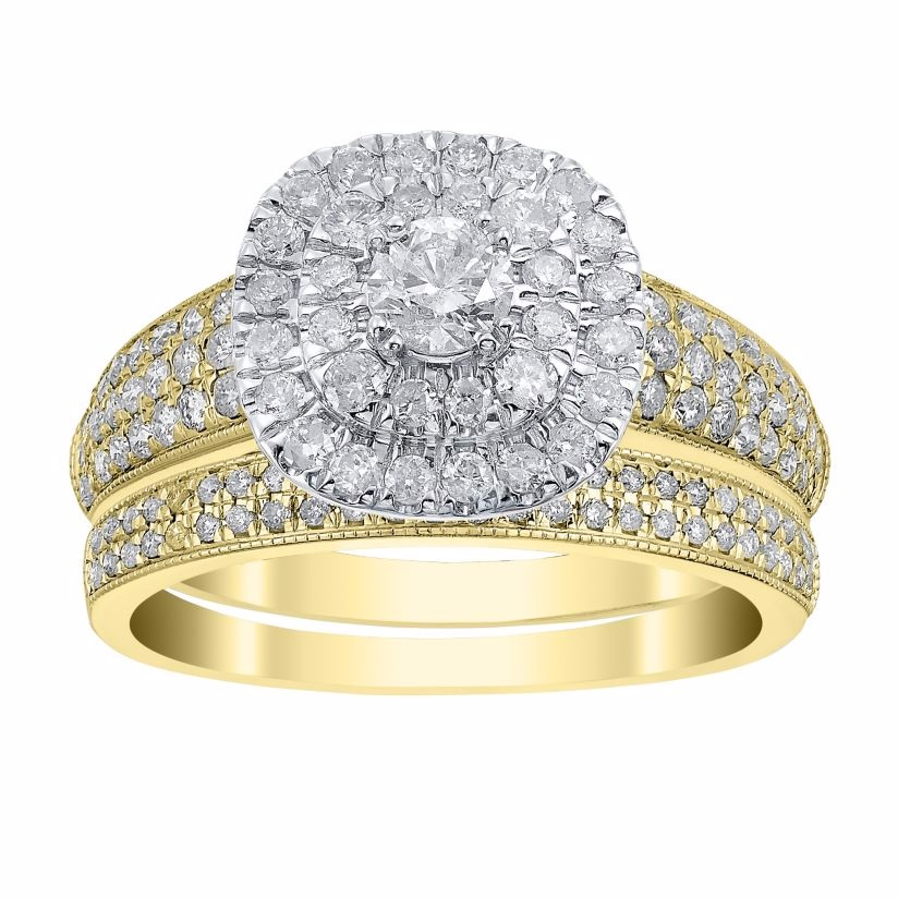 18ct Yellow Gold 1ct Cusion Cut Double Halo Bridal Set
