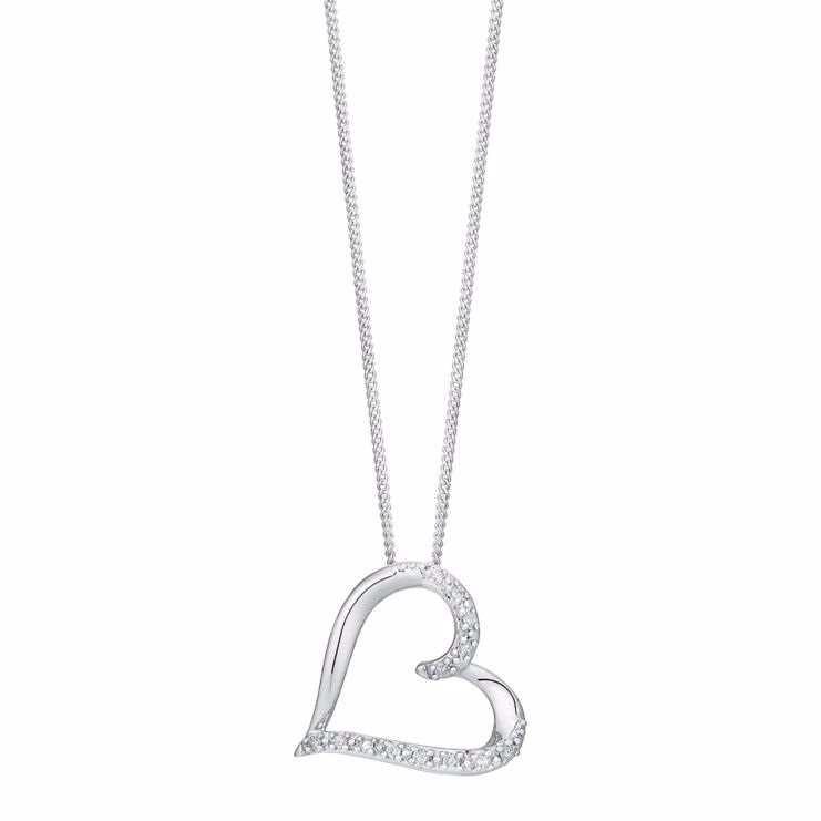 9ct white gold diamond heart pendant