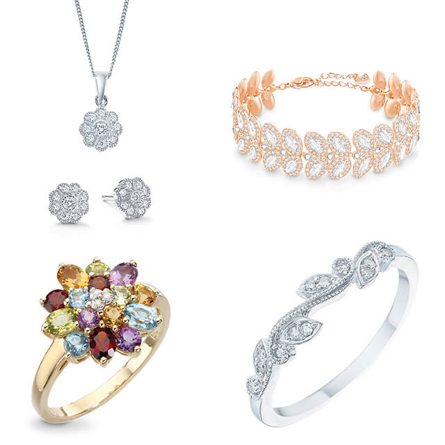 Floral Cubic Zirconia and Diamond Jewellery