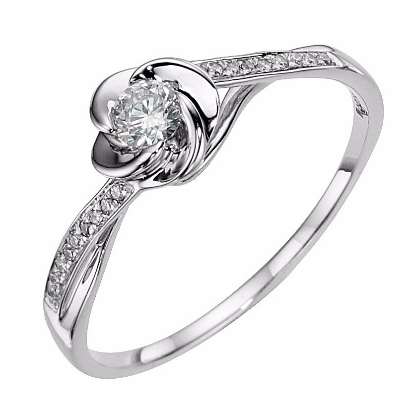 9ct White gold flower 0.2ct diamond solitaire ring