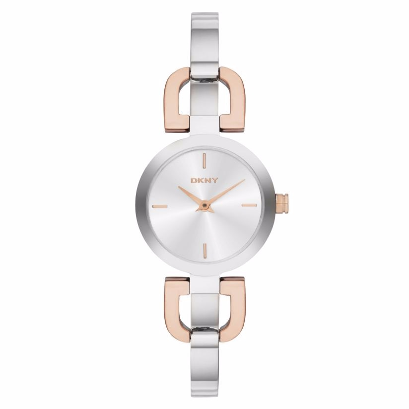 DKNY ladies' two colour D-link bangle watch