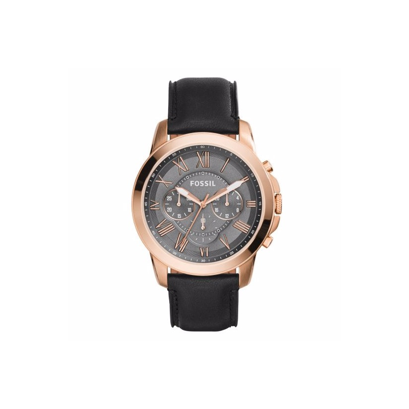 Fossil Grant men's rose gold-plated black strap watch