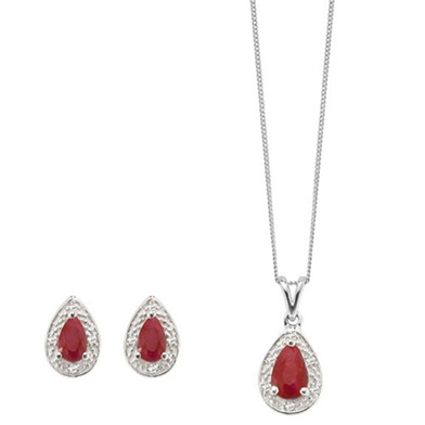 9ct white gold diamond & ruby earring & pendant set