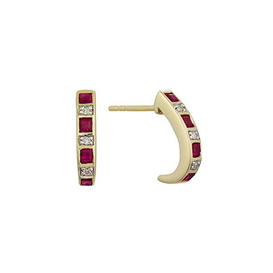 9ct yellow gold ruby and diamond hoop earrings