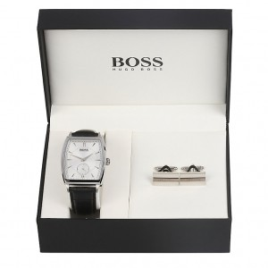 Boss brand watch and cuffinks in a case