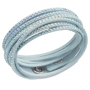 Light blue pastel leather bracelet with crustal studs