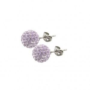Stud earrings with pastel lilac crystals