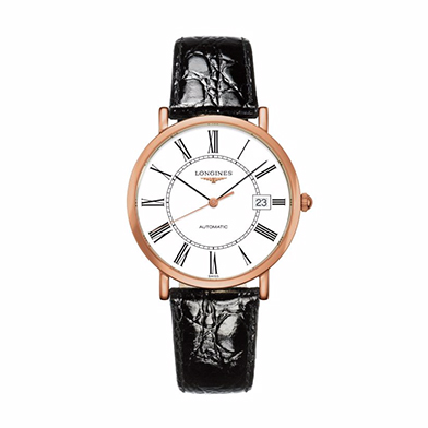 Longines men's 18ct rose gold black leather strap watch