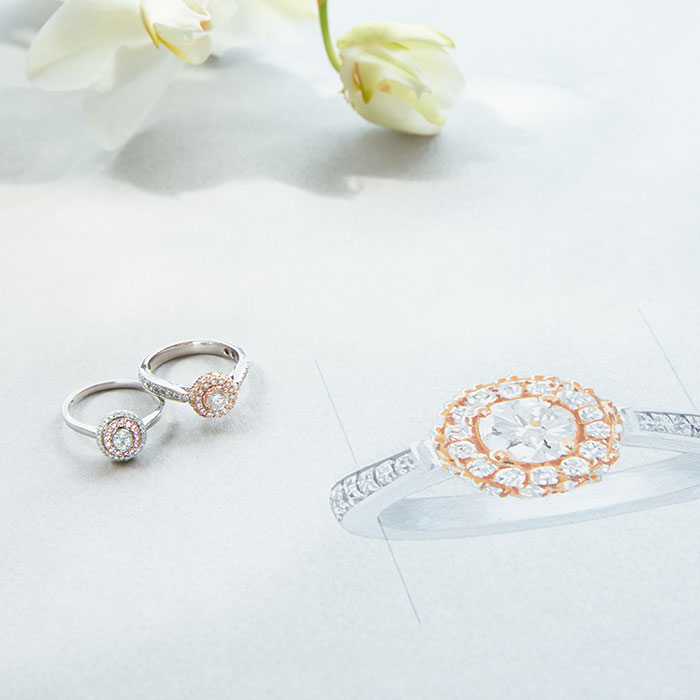 Rose gold and diamond engagement rings