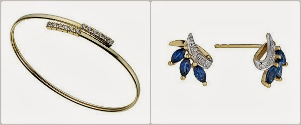 Gold bangle and sapphire and diamond stud earrings